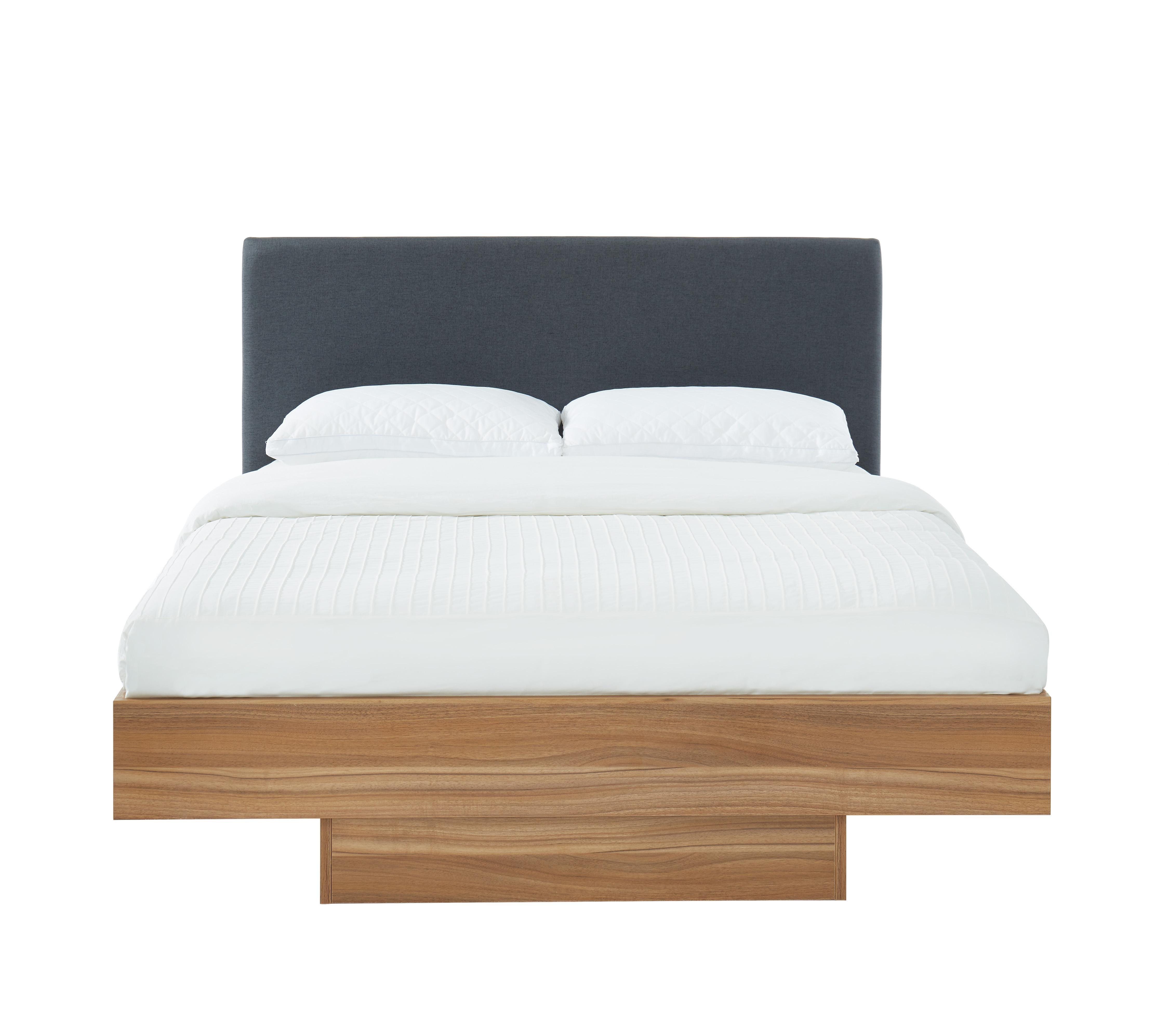 Wooden Floating Bed Frame Queen Walnut Oak Matt Blatt