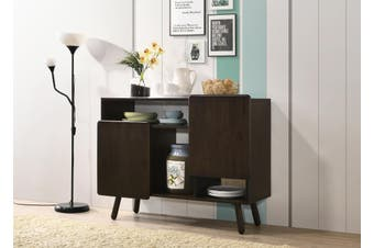 Scandinavian Style Solid Rubberwood Buffet Unit Sideboard In Classic Black