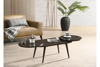 Scandinavian Style Solid Rubberwood  Extendable Coffee Table in Classic Black