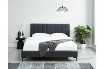 Caily Bed Frame Luxury Upholstered Fabric Charcoal Platform Bed Queen