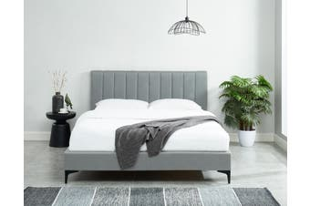 Caily Bed Frame Luxury Upholstered Fabric Stone Grey Platform Bed Queen