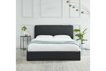 Cassidy Bed frame Modern Plush Upholstered Fabric Charcoal Platform Bed Queen