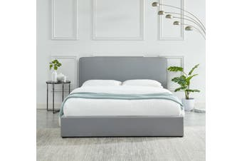 Cassidy Bed frame Modern Plush Upholstered Fabric Stone Grey Platform Bed Queen