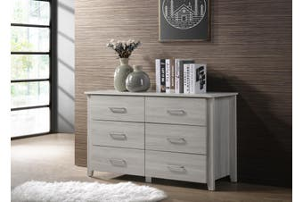 White 6 Chest of Drawers Bedroom Cabinet Storage Tallboy Dresser