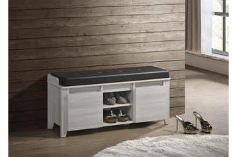 Luxury Bench Shoe Cabinet w/ Leather Seat Stool Shelf Storage