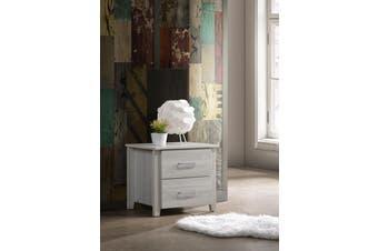 Bedside Table w/ 2 Drawers Nightstand - White Oak