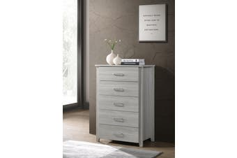 Modern Tallboy 5 Chest of Drawers - White Oak