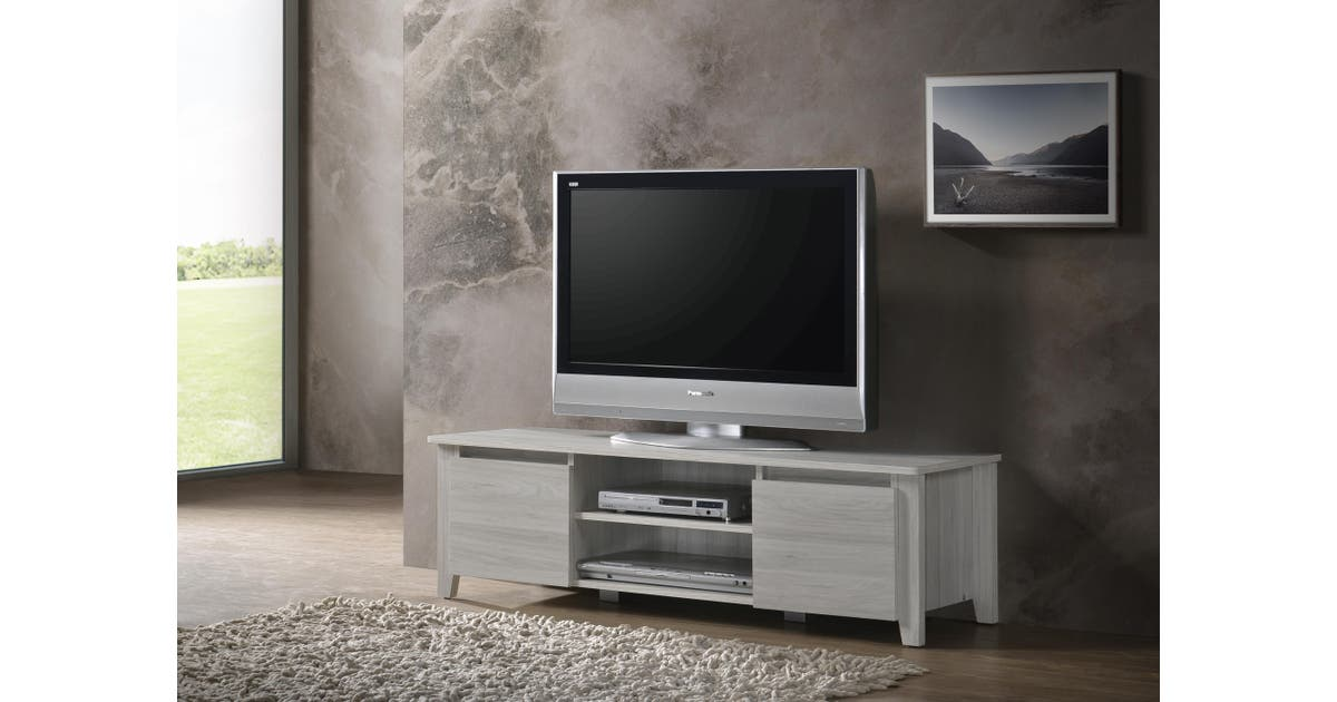 Modern Tv Cabinet Entertainment Unit Stand Lowline120cm White Oak Matt Blatt