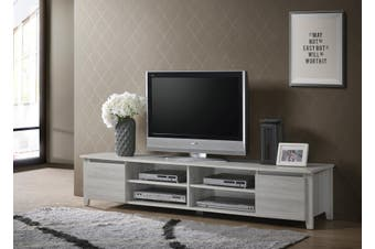 Modern TV Cabinet Entertainment Unit Stand Lowline 180cm - White Oak