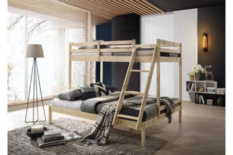 Single over Double Triple Bunk Bed Solid Timber Wooden Frame Natural Kids Bedroom