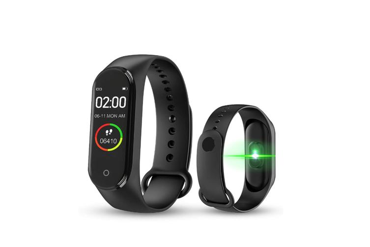 M4 Colorful Screen Smart Bracelet Fitness Tracker Waterproof Wristband,Blood Pressure Heart Rate Monitor - Black