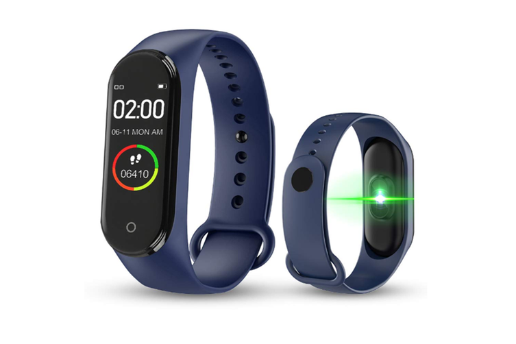 M4 Colorful Screen Smart Bracelet Fitness Tracker Waterproof Wristband,Blood Pressure Heart Rate Monitor - Blue