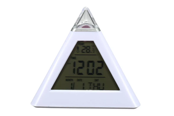 Select Mall Pyramid Shape Digital Alarm Clock With Date Temperature 7 Colors LED Change Backlight