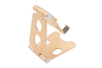 Select Mall Aluminum Alloy Mobile Phone Holder Adjustable Desktop Mobile Phone Folding Bracket-Gold