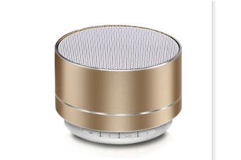 Select Mall Aluminum Alloy Wireless Bluetooth Speakers Outdoor Portable Mini Metal Speaker with LED Lights Support TF Card FM Radio-Gold