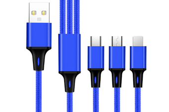 Select Mall Applicable One Drag 3 Light Data Cable Android Typec Apple Keychain 3 In 2 Charging Line-Blue