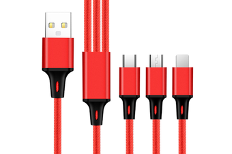 Select Mall Applicable One Drag 3 Light Data Cable Android Typec Apple Keychain 3 In 1 Charging Line-Red