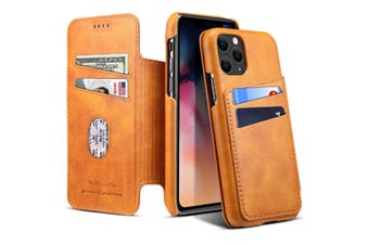 Select Mall Card Phone Case Clamshell Phone Case Mobile Phone Case Protective Cover Suitable for iPhone 11 Series Wallet Case-Brown Iphone11 PRO 5.8 inch