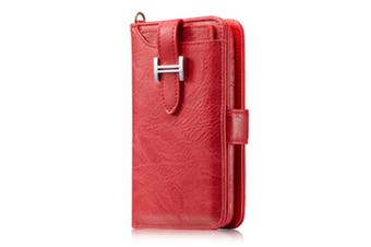 Select Mall Multifunction Card Phone Case Clamshell Phone Case Mobile Phone Case Protective Cover for iPhone 11 Series Wallet Case-Red Iphone11 PRO 5.8 inch