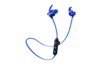 Select Mall Bluetooth Headset 5.0 Pluggable Card MP3 Wireless Sports Binaural True Stereo Hanging Neck Magnetic Earplugs-Blue