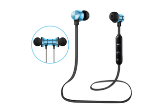 Select Mall Bluetooth Headset 5.0 Magnetic Sport Wireless Bluetooth In-Ear Bluetooth Headphones HiFi Stereo Deep Bass Headsets-Blue