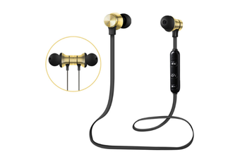 Select Mall Bluetooth Headset 5.0 Magnetic Sport Wireless Bluetooth In-Ear Bluetooth Headphones HiFi Stereo Deep Bass Headsets-Gold