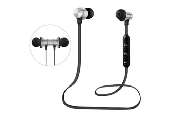 Select Mall Bluetooth Headset 5.0 Magnetic Sport Wireless Bluetooth In-Ear Bluetooth Headphones HiFi Stereo Deep Bass Headsets-Silver