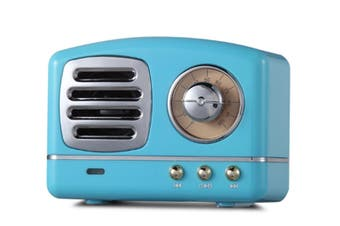 Select Mall Creative Retro Bluetooth Audio Mini Portable High Quality with FM Bluetooth Small Speaker-Blue