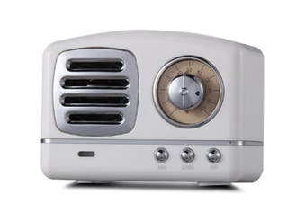 Select Mall Creative Retro Bluetooth Audio Mini Portable High Quality with FM Bluetooth Small Speaker-White