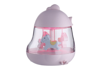 Select Mall Creative Carousel Lights Ambient Romantic Music Night Light Bedside Bedroom Fantasy USB Rechargeable Night Light Table Lamp-Pink