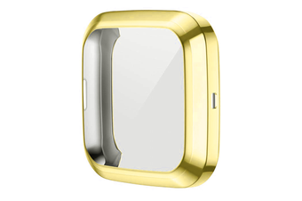 Select Mall TPU Shell Case Screen Protector Frame Cover Bumper for Fitbit Versa 2 Watch TPU Protect Protective Durable Housing-Gold