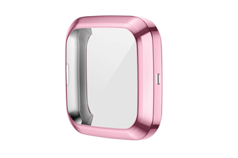 Select Mall TPU Shell Case Screen Protector Frame Cover Bumper for Fitbit Versa 2 Watch TPU Protect Protective Durable Housing-Pink