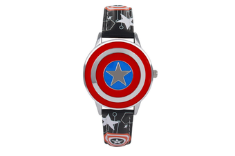 Select Mall Creative Captain America Shield Watch Flip Quartz Watch Boy Child Watch Captain America Vintage Watch-2