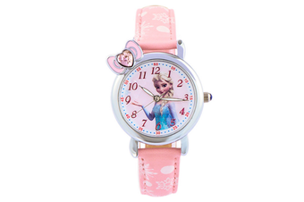 Select Mall Creative Frozen Child Watch Aisha Princess Girl Waterproof Quartz Watch Suitable for Girls Primary School Students-Pink