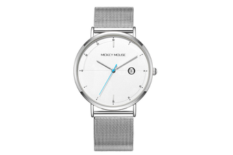 Select Mall Creative Mesh Belt Ladies Waterproof Watch Stainless Steel with Watch Trend Simple Quartz Watch-White