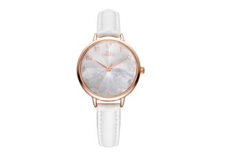 Select Mall Simple Quartz Watch Mitsubishi Mirror Waterproof Watch Fashion Trend Fashion Watch for Women-White