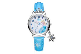 Select Mall Cute Winter Romance Watches Shiny Crown Princess Watches Snowflake Pendant Decorative Quartz Watches for Kids-Blue