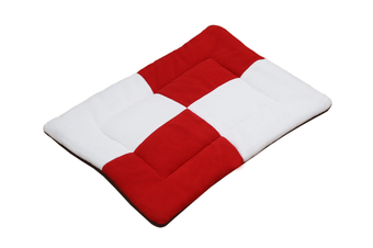 Select Mall Cute Color Matching Dog Mat Bite-resistant Winter Warm Cat Pet Dog Kennel Cotton Pad-Red - Size M