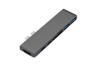 Select Mall USB C To HDMI VGA Adapter Double-head Type-c HUB To HDNI 4k Hub Reader Type-c Docking Station Lightning 3 Interface-Grey