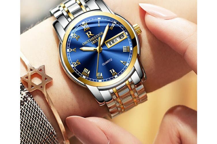 Select Mall Fashion Steel Shell Steel Strip Steel Round Quartz Watch Waterproof Watch for Men and Women Available-1