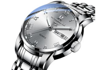 Select Mall Fashion Steel Shell Steel Strip Steel Round Quartz Watch Waterproof Watch for Men and Women Available-6