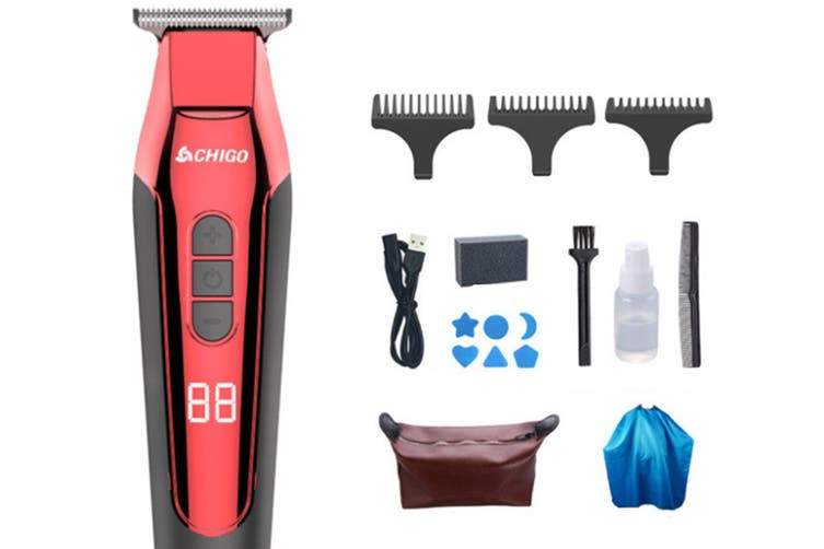 Select Mall Rechargeable Cordless Electric Hair Trimmer Hair Clippers Multi-Purpose Haircut Hair Cutting Kit-Red