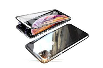 Select Mall 360 Degree Transparent Tempered Glass Cover Strong Magnetic Adsorption Technology Metal Bumper for iPhone-11pro max