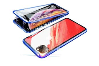 Select Mall 360 Degree Transparent Tempered Glass Cover Strong Magnetic Adsorption Technology Metal Bumper for iPhone-XR