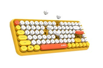 Select Mall Wireless Bluetooth Keyboard Mini Portable 84-Key Keyboard Compatible with Android Windows PC Tablet-Yellow