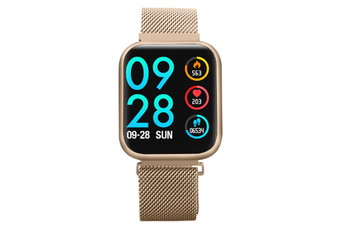 Select Mall 1.3-inch Color Screen Waterproof Smart Watch Full Touch Screen Heart Detection Rate Blood Pressure Sleep Watch-Gold