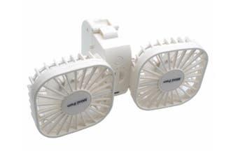 Select Mall Multifunctional Folding Storage Type Handheld Fan Hanging Neck Fan USB Small Fan Lazy Hanging Neck Fan-White