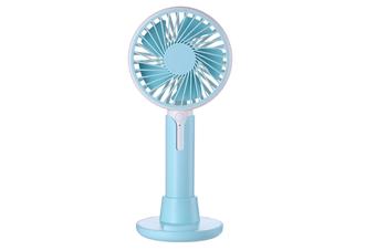 Select Mall 2 In 1 Portable Mini Fan Desktop Creative USB Small Fan Three Gear Adjustment Wind with Mobile Phone Bracket-Blue