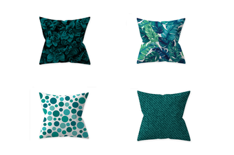 Select Mall 4PCS Pillowcase Teal Blue Home Decoration By Pillow Cushion Cover Without Pillow Core-A