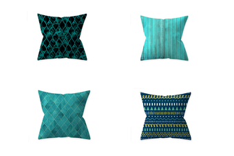 Select Mall 4PCS Pillowcase Teal Blue Home Decoration By Pillow Cushion Cover Without Pillow Core-C